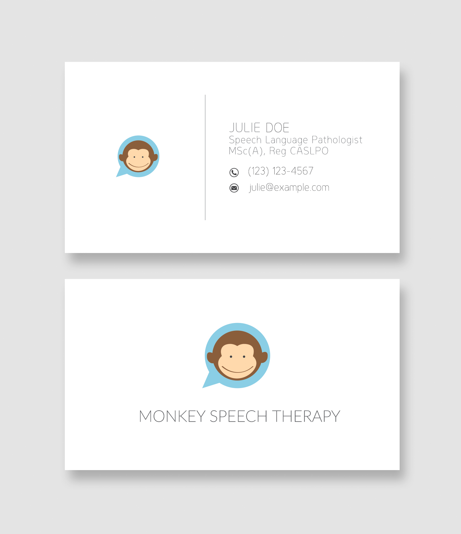 Monkey speech yuna wang yuna wang monkey speech monkey speech julie wanted a new logo and business card reheart Choice Image